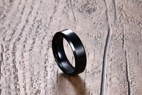 6mm Personalized Polished Black Tungsten Unisex Ring