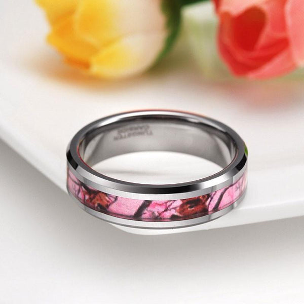 Promise ring for her - Pink Camo Women's Tungsten Ring