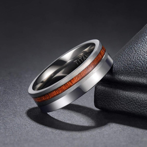 Personalized wood and silver mens ring