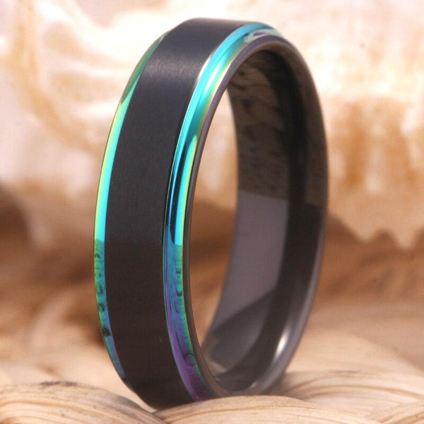 Rainbow Colorful Tungsten Mens Ring