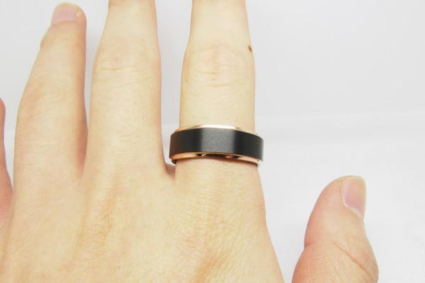 6mm Rose Gold Edges Polished Tungsten Unisex Ring