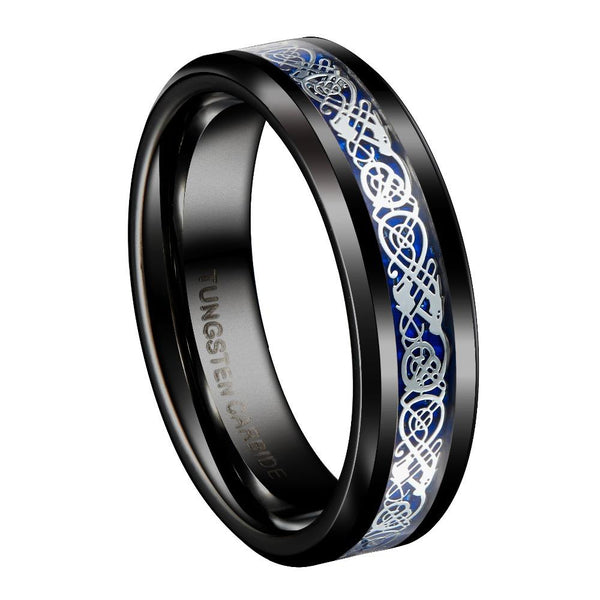 Silver and Blue Celtic Dragon Tungsten Mens Ring