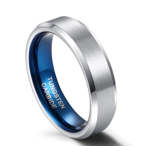 Mens Promise Rings - 6mm Silver Blue Tungsten Ring