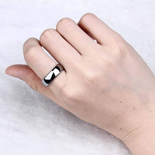 6mm Silver Polished Dome Titanium Womens Ring