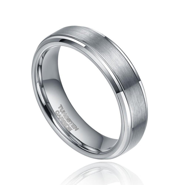 Personalized Silver Tungsten Mens Ring