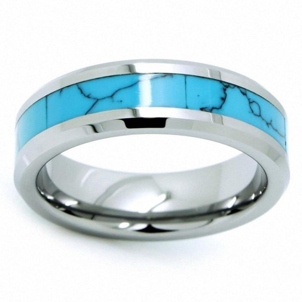 Turquoise mens ring - personalized silver Tungsten ring band