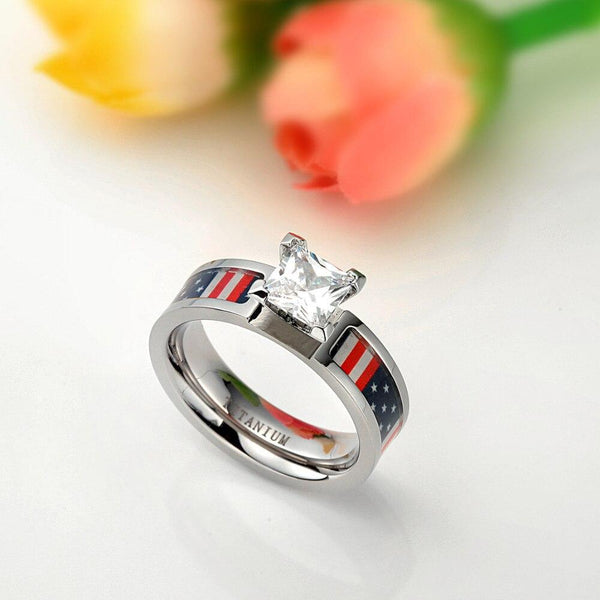 Promise ring for her - USA American Flag Patriotic Titanium Womens Ring