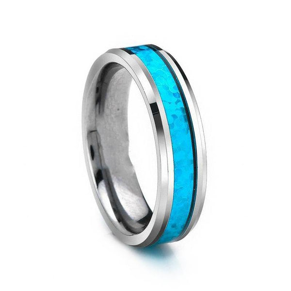 Personalized Blue Opal Tungsten Mens Ring