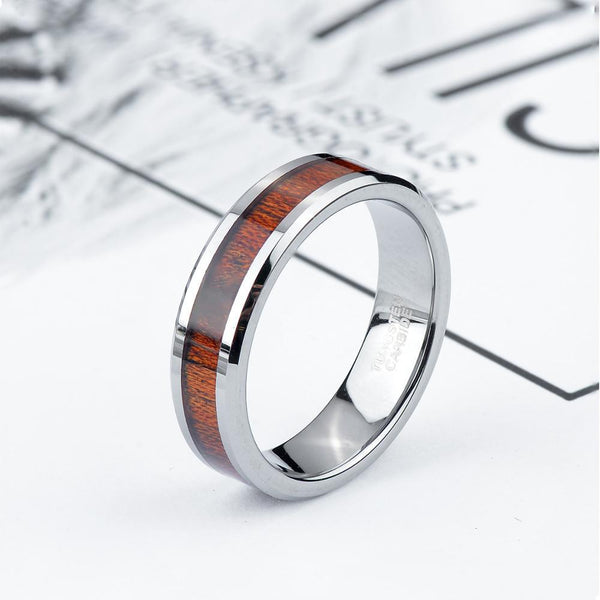 Personalized Wood Tungsten Silver Mens Ring
