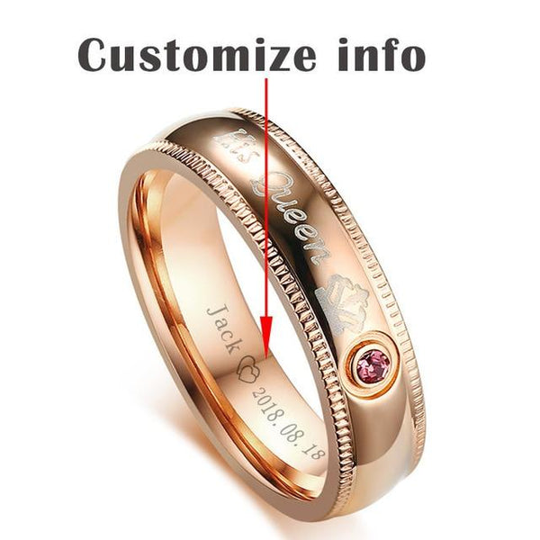 Personalized king and queen stainless steel rings set