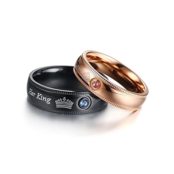 King and queen stainless steel rings set