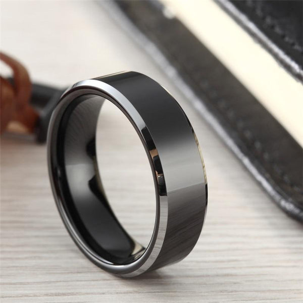 Personalized black silver edges Tungsten mens ring