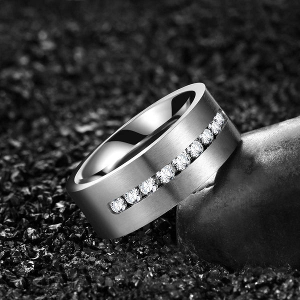 Couples promise rings - silver cubic zirconia diamond mens ring