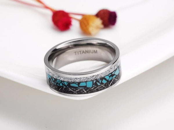 Personalized silver and turquoise color rock couples rings