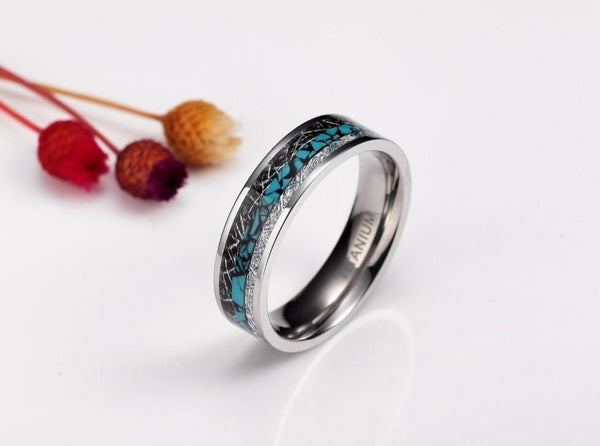 Personalized silver and turquoise color womens rings