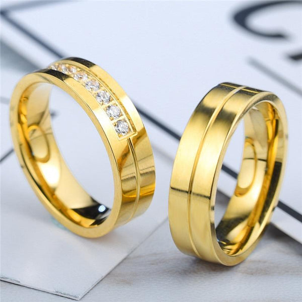 personalized matching gold couples promise rings for him and her