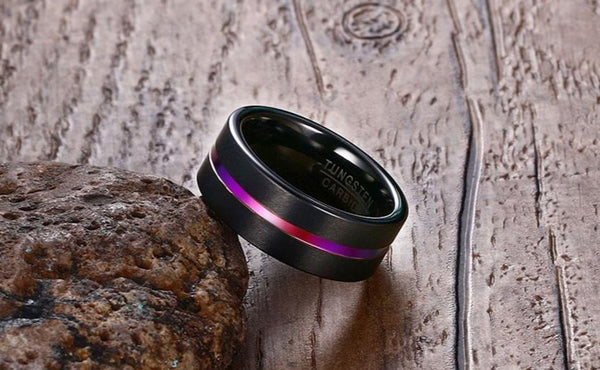 Black and Rainbow Tungsten Mens Ring