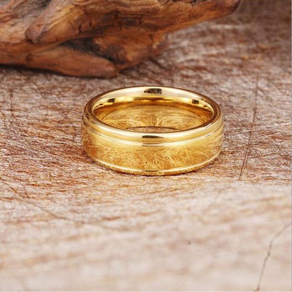 Rings for him - Personalized gold color tungsten mens ring