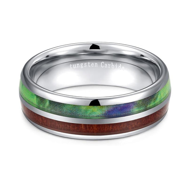 Wood mens rings - green nature earth Tungsten ring