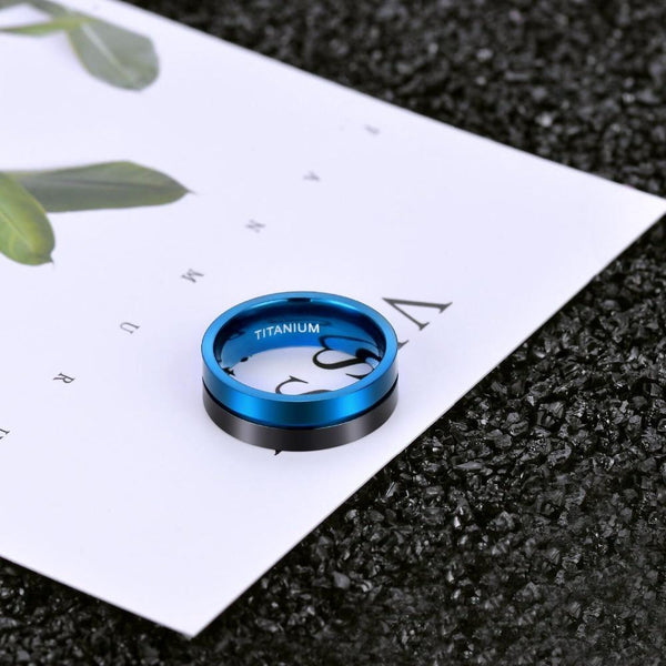 Rings for him - Personalized blue and black Titanium mens ring