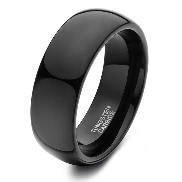 Personalized black tungsten mens rings