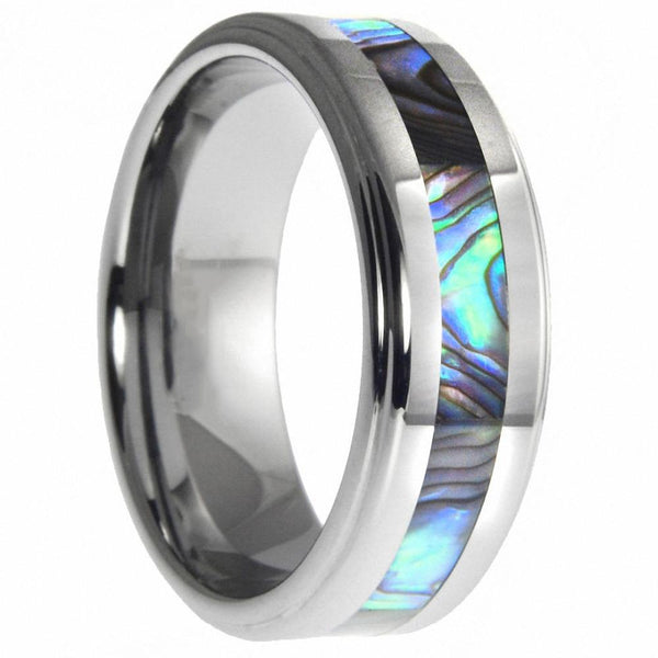Rings for him - Abalone shell silver Tungsten mens ring