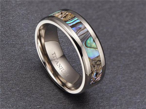 Rings for him - abalone shell Titanium silver mens ring