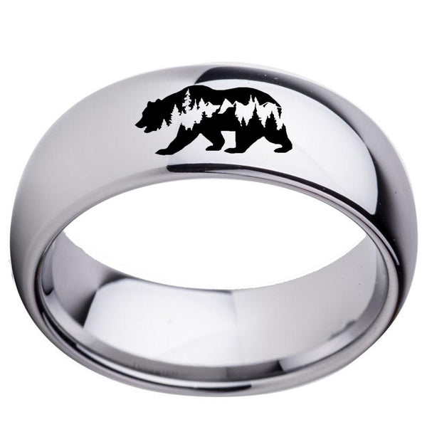 Bear Forest Silver Tungsten Mens Ring