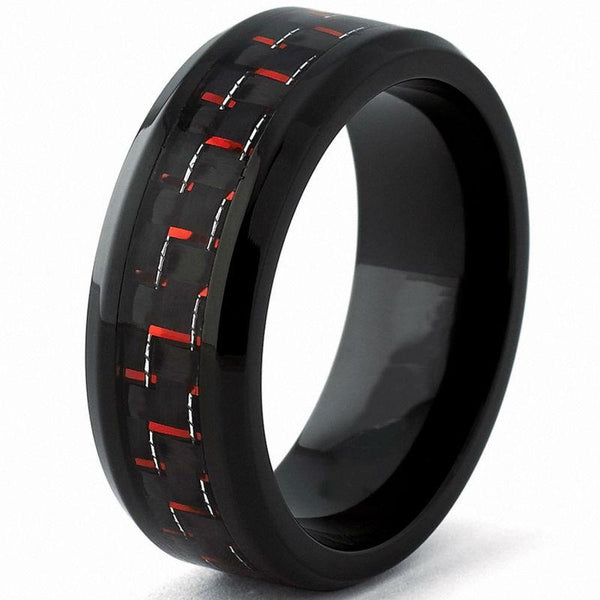 rings for him - black and red tungsten mens ring