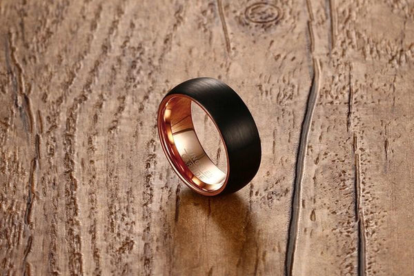 Mens engagement ring - black and rose gold Tungsten male ring