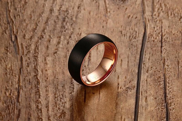 Mens wedding rings - black and rose gold Tungsten male ring