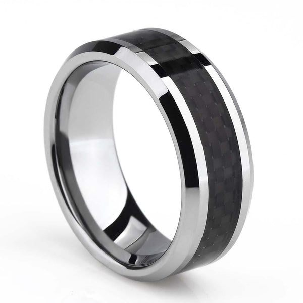 Rings for him - silver and black tungsten mens ring