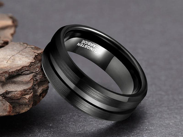 Personalized custom black tungsten mens ring for him