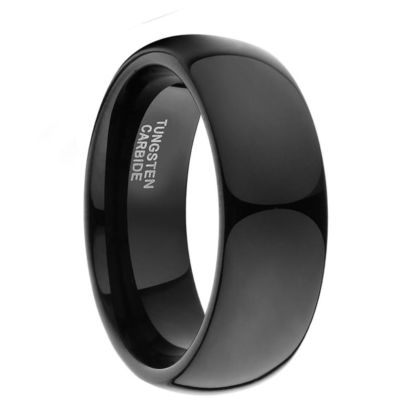 Rings for him - black polished tungsten mens ring