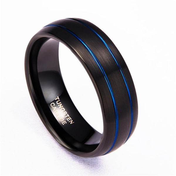 Personalized black and blue tungsten mens ring