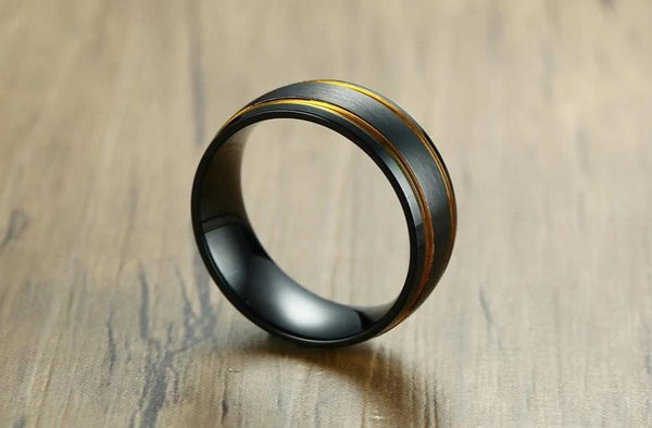Rings for him - Black and gold stainless steel mens ring