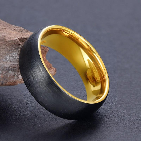 mens promise rings - black and gold Tungsten mens ring