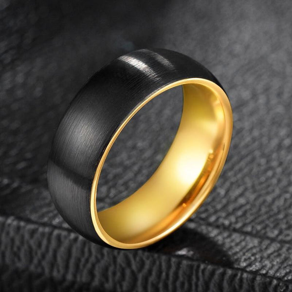 gifts for him - black and gold Tungsten mens ring