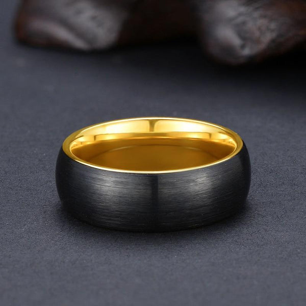 rings for him - black and gold Tungsten mens ring