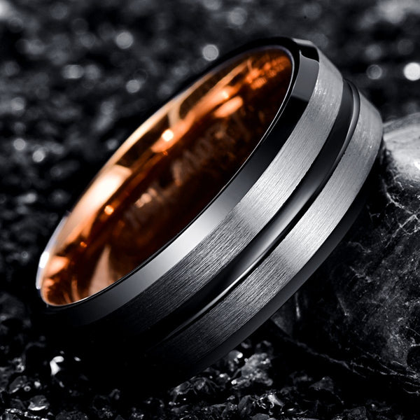 Black, Silver and Rose Gold Tungsten Mens Ring