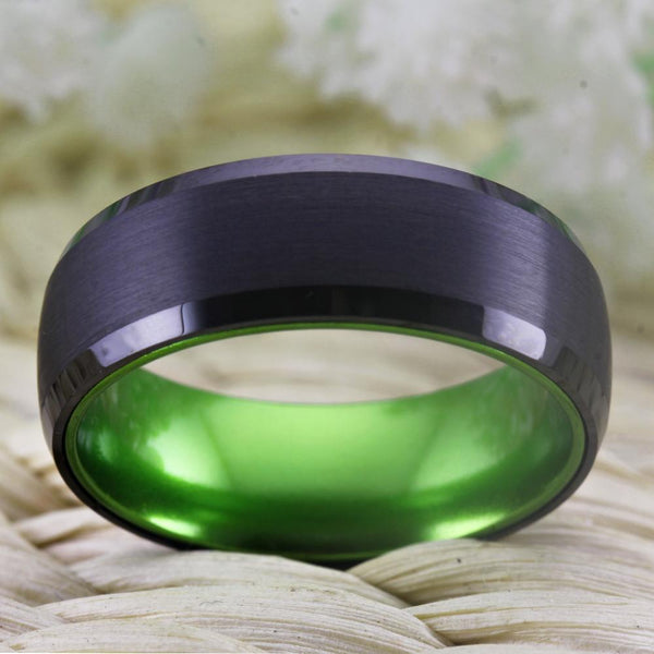 Irish rings - black and green Tungsten mens ring