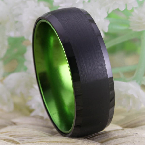 Promise rings for him - black and green Tungsten mens ring
