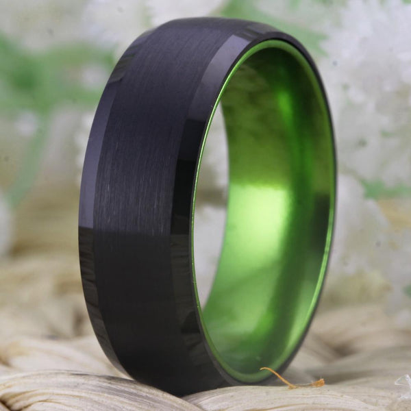 Rings for him - black and green tungsten mens ring