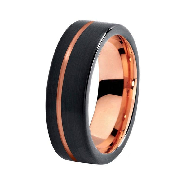 Rose Gold and Black Tungsten Mens Ring