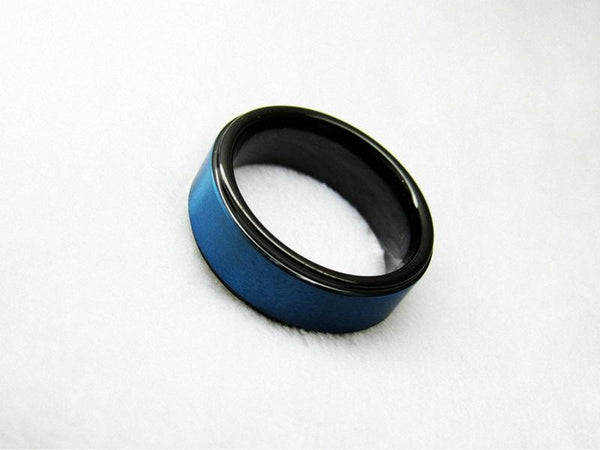 Black and blue Tungsten mens ring