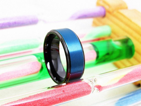 rings for him - black and blue Tungsten mens ring