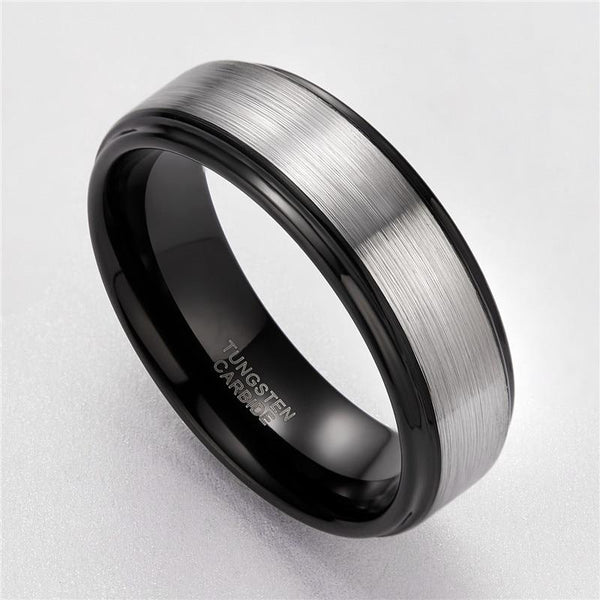 Rings for him - black and silver mens ring