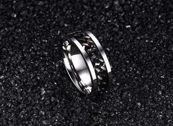 Worry Stress Relief Rotatable Spinner Mens Rings