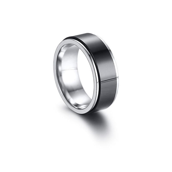 Fidget rings - black and silver stainless steel male ring