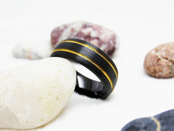 Rings for him - black and gold tungsten mens ring with custom engraving